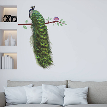Colourful Animals Peacock On Branch Feathers Wall Stickers 3D Vivid Decals Home Decor Art Decal Poster