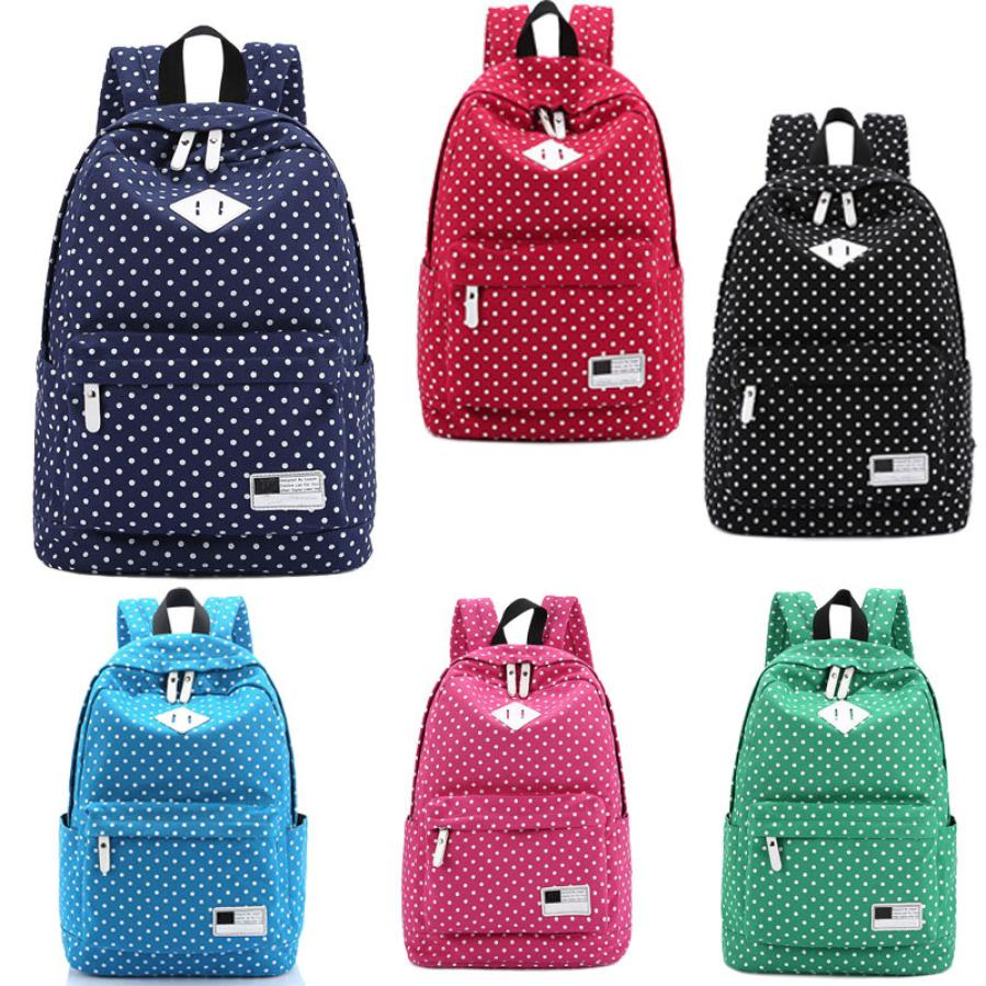 maison Backpacks new high quality Canvas Girl Polka Dot School Shoulder Travel Rucksacks fashion backpack women 2018MA25 ...