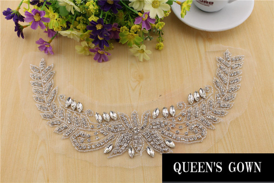 High quality diamond patches rhinestone necklace crystal applique high quality diamond patches rhinestone necklace crystal applique belt for wedding dress wedding decoration accessories in rhinestones from home garden on junglespirit Image collections