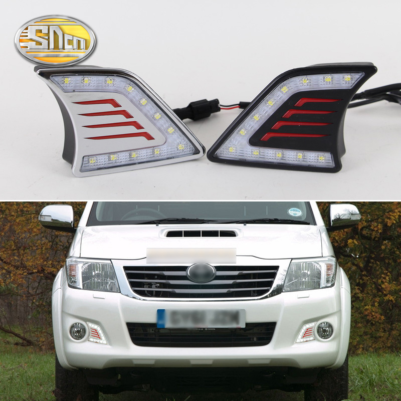 For Toyota Hilux Vigo 2012 - 2014,With Chromed Or Black Cover Waterproof ABS 12V Car DRL LED Daytime Running Light SNCN цена