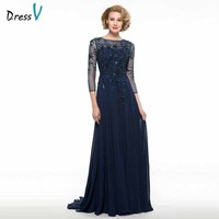 Dressv elegant scoop neck 3/4 sleeves mother of bride dress beading floor length zipper up long mother evening gown custom