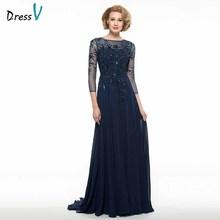 Dressv elegant scoop neck 3/4 sleeves mother of bride dress beading floor length zipper up long mother evening gown custom