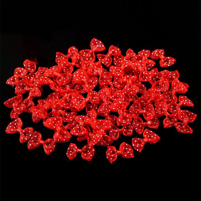 Lucia crafts, 2,5 см, 12 шт./24 шт., банты из органзы в горошек, для девочек, бутик, мини бант для волос, головной убор, сделай сам, одежда для рукоделия, B0810 - Цвет: Red 12pcs