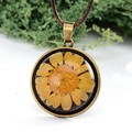 Trendy Yellow Flower Necklace Antique Bronze Real Dried Flowers Lockets Necklace Men Jewerly