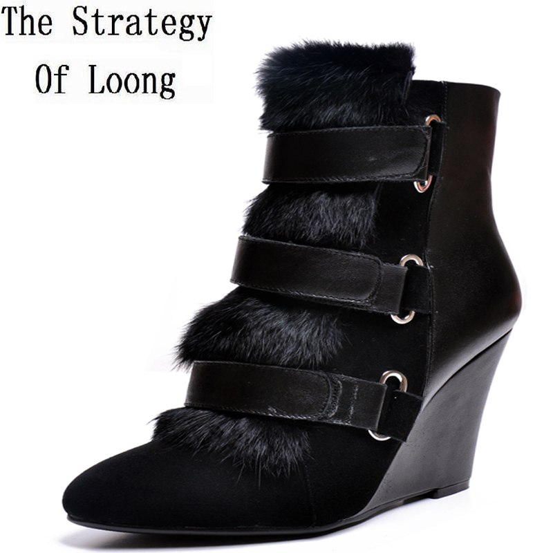 Europe and America Women Autumn Winter Wedges Pointed Toe Genuine Leather Rabbit Fur Buckle Fashion Martin Boots 34-39 SXQ0730 dreambox 2017 autumn and winter trends in europe and america woven leather breathable shoes in thick soled sports shoes men