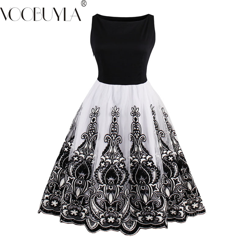 Voobuyla Women Vintage Style Dresses Floral Print Party Dress Embroidery Elegant Female Retro Flocking Tank Sleeveless Dresses