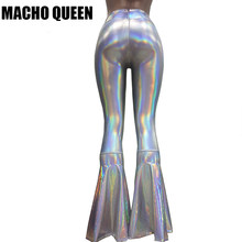 vintage Leggings Clothing Women Silver Holographic Wide Leg Flare Bell Bottom Pants Leggings Rave Festival Clothes Outfits(China)