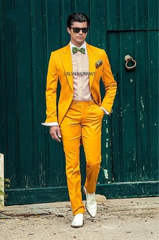 New Arrival One Button Yellow Groom Tuxedos Groomsmen Men's Wedding Prom Suits Bridegroom (Jacket+Pants+Girdle+Tie) K:636