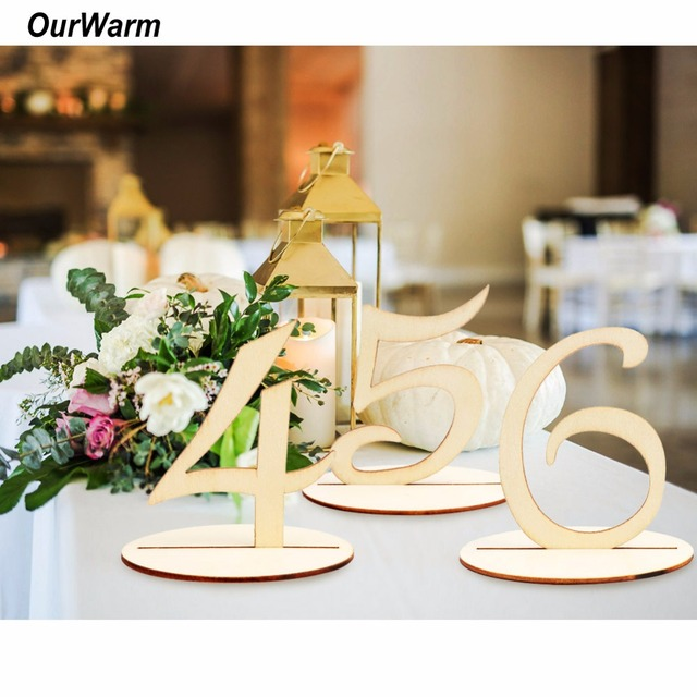 OurWarm 10pcs Set Wooden Table Numbers Holder Rustic Wedding Birthday Party Banquet Decoration Event