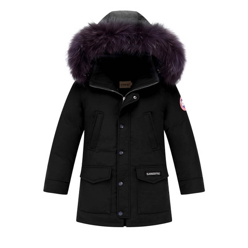 -30 degrees Fashion big fur collar Children duck down Jacket high quality girls boys outwear parkas Coats For 6-14Y kids 9923