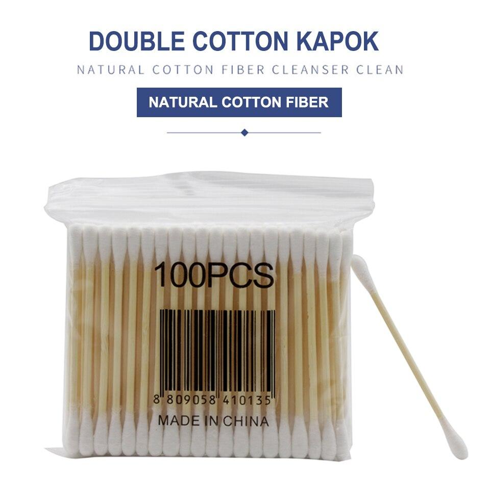 10*100pcs/pack Double Head Cotton Swab Stick Wood Stick Cotton Ball Clean Ear Makeup Remover Makeup Box Cotton Aseptic Stick