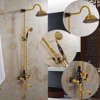 Luxury Gold Brass Shower Faucet Set Single Ceramic Handle Tub Mixer Hand Shower Free shipping Wholesale And Retail