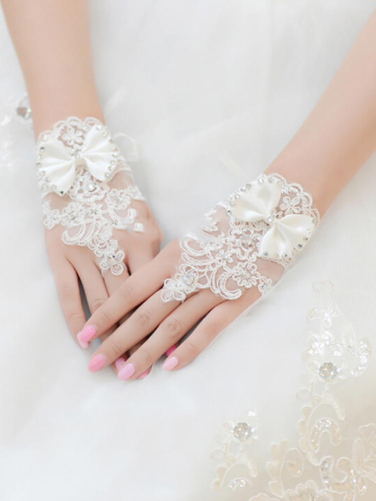 New Arriva WHITE Rhinestone Lace Brides Floral Bowknot Fingerless Short Gloves Leak Finger Guantes Mujer