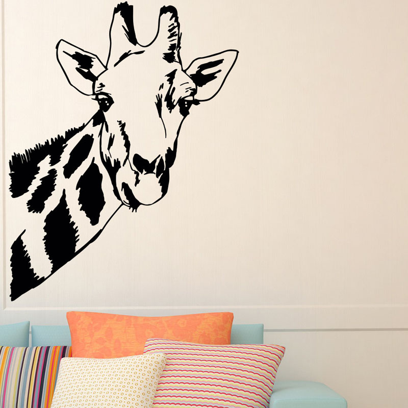 giraffe head wall stickers jungle wild animal home decor vinyl