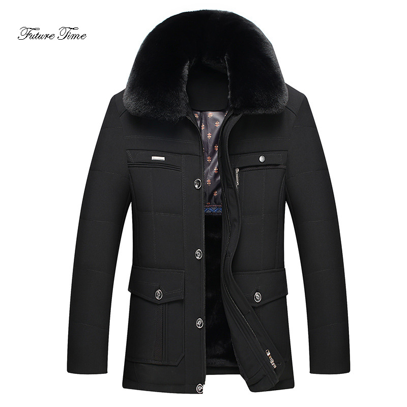 Mens Jacket Middle-aged Winter Thicken Plus Velvet Cotton Clothing Solid Fur Collar Outerwear Plus Size Warm Cotton Coats WY136