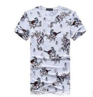 Summer Mens Leisure Flower Bird Printing T Shirts Casual Large Size Flower Tops And Tees Male
