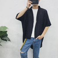2018 A Summer Man Sunscreen Fivepence Sleeve Lengthen Easy Bat Stripe Long Male Black Shirt Free