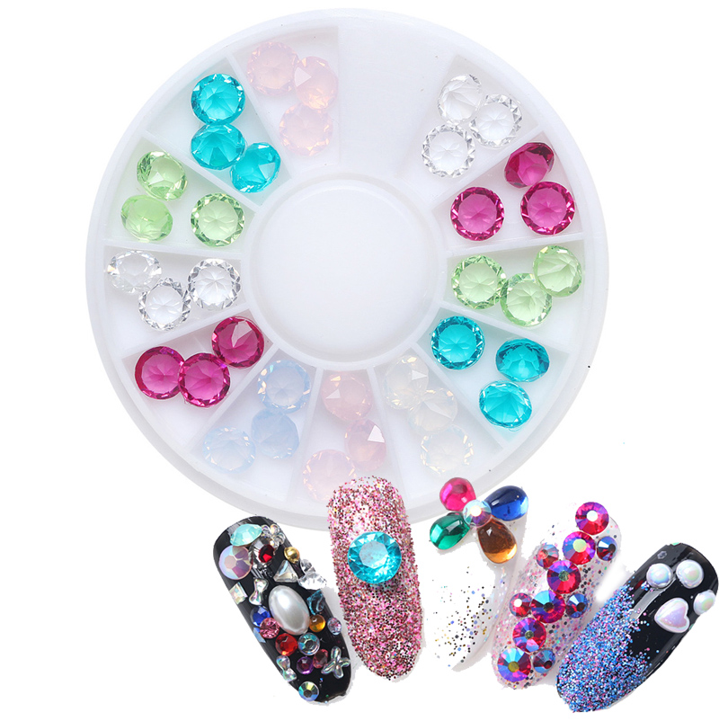 New Design Nail Art Decorations Colorful Wheels Crystal Brillantini 3D Nail Jewelry Rivet Resin Gems Stones Tips Manicure Sets women winter army green jacket coats thick parkas plus size fur collar hooded cotton outwear winter jackets women 6 colors c1690