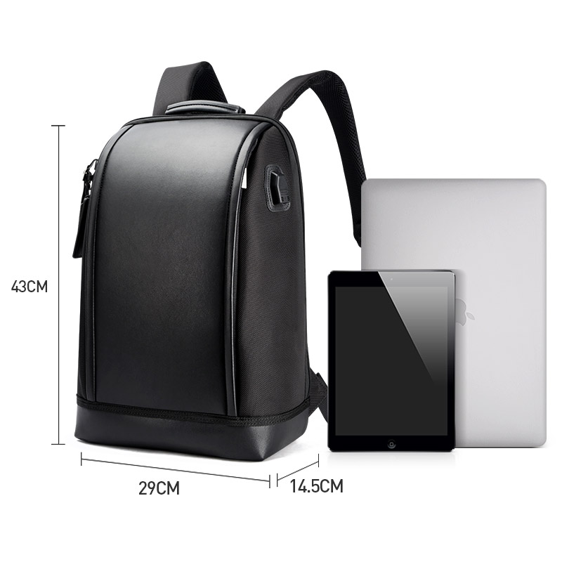 Image 5 - BOPAI Shell Shape Business Men's Office Work Backpack USB Charge Cool Male Leather Daypack Backpack Men's Shoulder Bags for Work-in Backpacks from Luggage & Bags