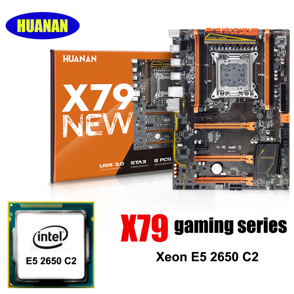 HUANAN deluxe X79 LGA2011 gaming carte mère CPU ensemble processeur Xeon E5 2650 C2 soutien 64G (4*16G) DDR3 RECC mémoire CrossFire