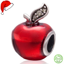 Christmas Gift Genuine 925 Sterling Silver Christmas Red Apple Charm Beads fits Pandora Charms Bracelets christmas trees red apple crystal cz 925 bracelet