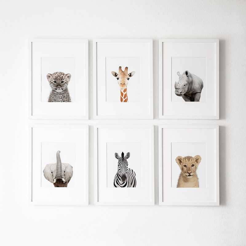 Nursery Decoration Modern Safari Canvas Art Painting Pictures Wild Animals Photography Posters Print Baby Room Wall Art Decor