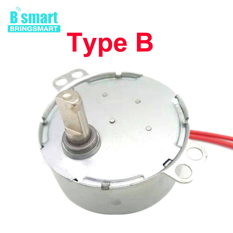 BringSmart 5-24v <font><b>110v</b></font> 220v Low Speed Craft Rotate 4 Type Shaft Exhibition Fan Microwave Oven Gear AC Synchronous <font><b>Motor</b></font> TYC-50 image