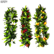 OOTDTY Hawaiian decorative wreath party supplies Colorful leaf Necklace Beach Party dress decoration