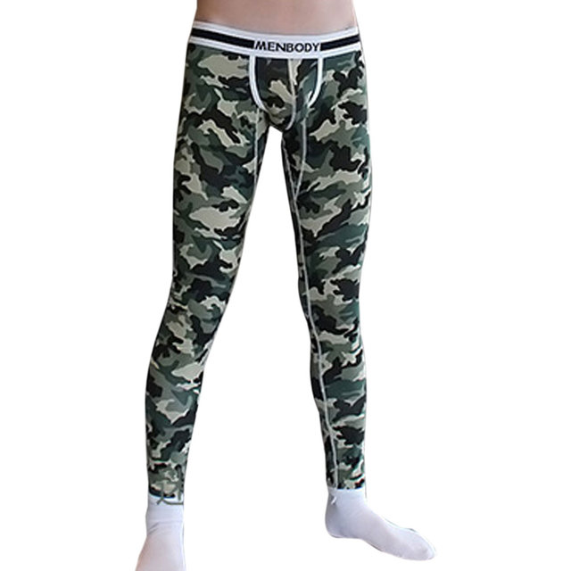 Fashion Men Sleep Bottoms Plus Size Long Johns Pajama Cotton Penis Convex Pouch Underwear Camouflage Printing Slim Homewear