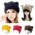 Moda mujeres señora Girls que hace punto caliente de lana de gato lindo Ear Beanie hat, invierno exterior de esquí deportes Cap Superacid Stretch