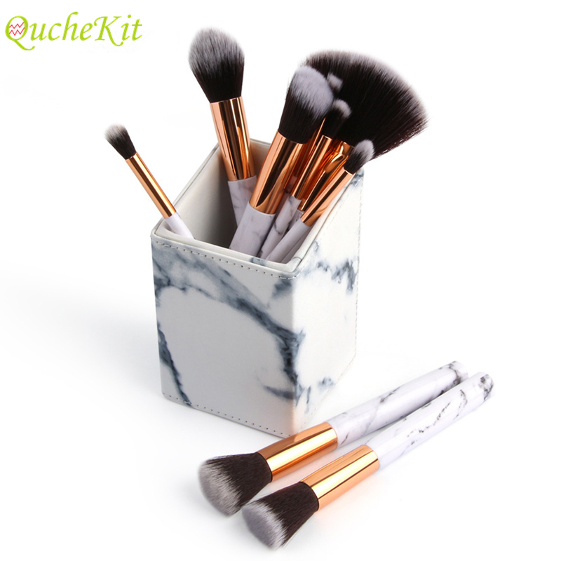 Square Marbling Makeup Brush Organizer PU Cosmetic Bursh Holder Square Storage Box Jewelry Box Case Holder Display Stand