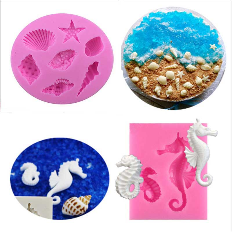 1PC Sea Shells Beach Sea Horse Shapes Silicone Cake Mold DIY Sugar Craft Cake Decorating Tool Candy Chocolate Mould JD1273