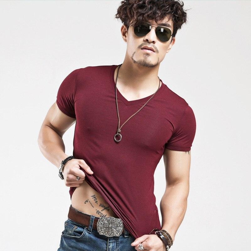2018 Mens Musim Panas T Shirt Tops Baru V neck Lengan Pendek Tees - Pakaian Pria - Foto 3