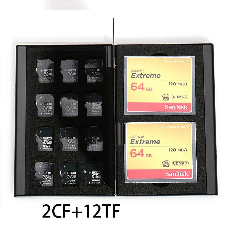 12 en 1 boîte de rangement en aluminium sac étuis de carte mémoire porte-monnaie grande capacité pour 2 * carte SD 2 * carte CF 12 * carte MicroSD