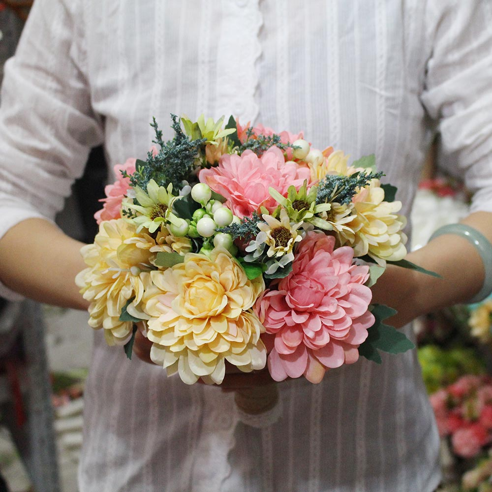 2018 Real Photos Pink Yellow Flower Wedding Bouquet Artificial
