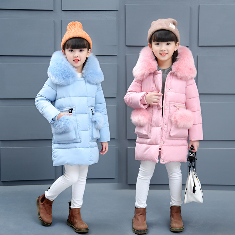 Girls Winter Cotton Coat Kids Cotton Padded Down Jacket Children Girl Thick Solid Color Large Fur Collar Winter Clothes Outwear kids winter coat girls solid outerwear jacket children warm clothes girls thick cotton padded jacket fur collar hooded coat e291