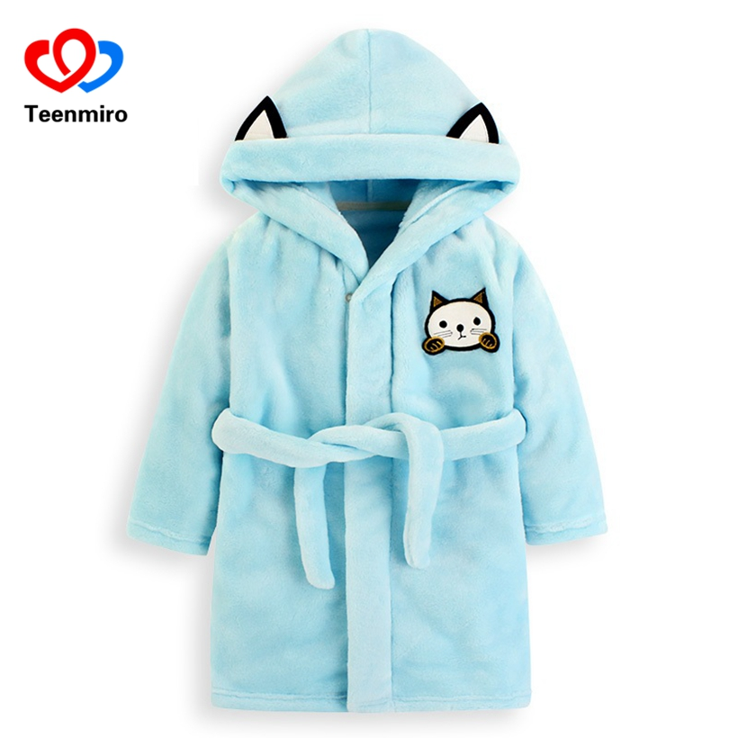 Baby Flannel Bathrobes Robe Kids Cartoon Sleepwear Hooded Robes for Girls Cat Pajamas Boys Thick PJS Children Home Wear Clothing