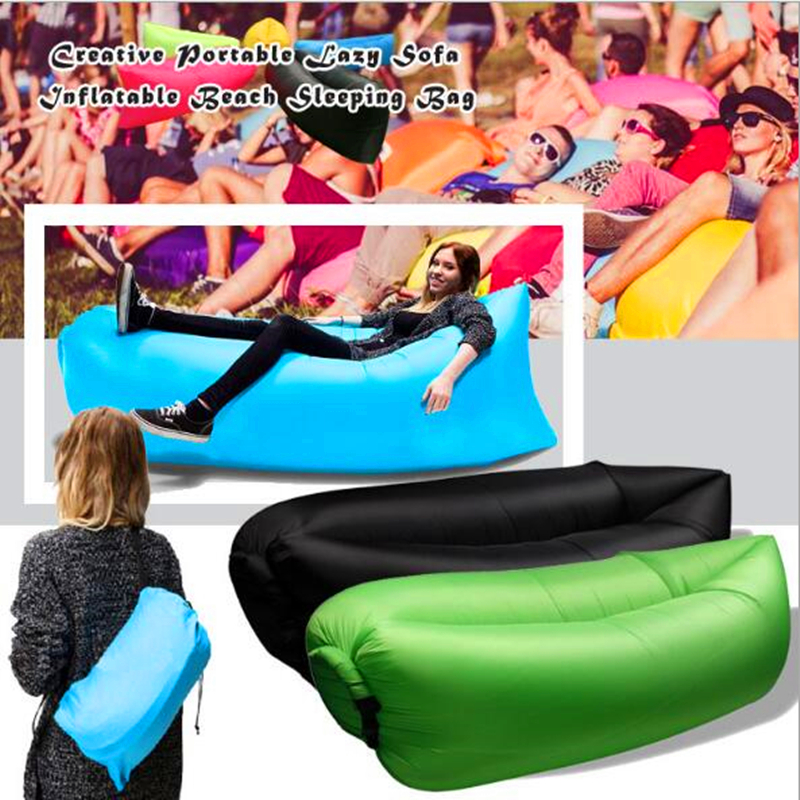 Quick Inflatable laybag Sleeping Bag Leisure Hang out Lounger Air Camping Sofa Beach Nylon Fabric sleep Bed Lazy Chair free ship creative quick inflatable laybag sleeping bag leisure hang out lounger air camping sofa beach nylon fabric sleep bed hammocks