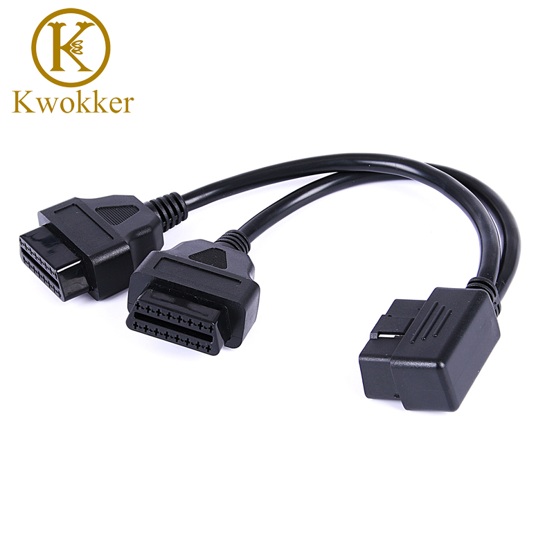 KWOKKER 40cm OBD 2 OBDII Y Adapter Splitter Cable Male to Dual Female OBD2 Y Diagnostic-tool Car Connector Cable J1962 Ports obdii bluetooth car diagnostic cable black blue dc 12v