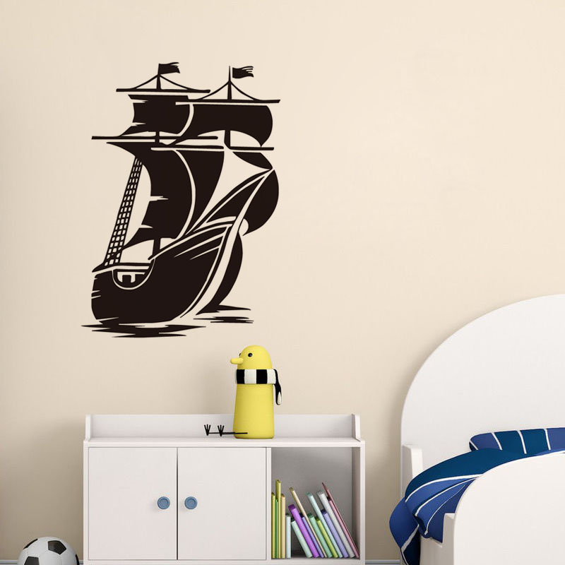 Fashion Styling Ship Vinyl Wall Decals Home Decor Removable Adhesive Bedroom Wall Stickers For Kids