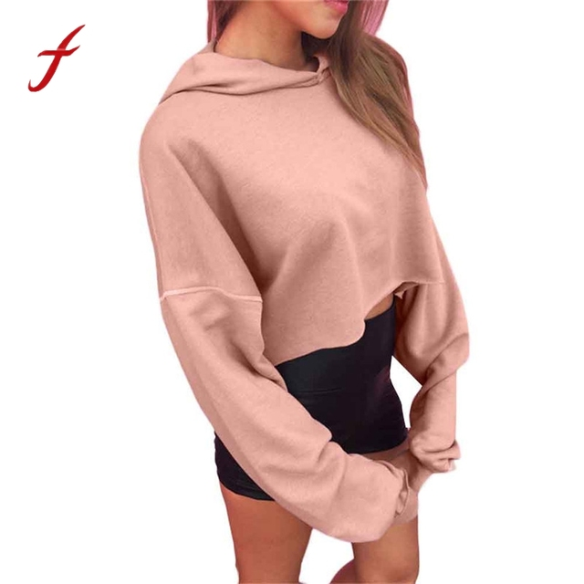 8ec6d8c2825bf US $15.6 |Women Hoodie Crop Sweatshirt Jumper Fashion Pink Crop Top Ladies  Long Sleeve Pullover Coat Casual Blouse Tops 2018 Hot-in Hoodies & ...