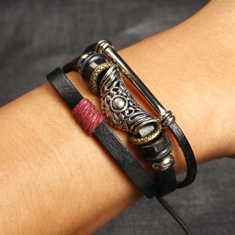 2016 NEW 3Layers Rock Energy Leather Bracelet Men Jewelry ...
