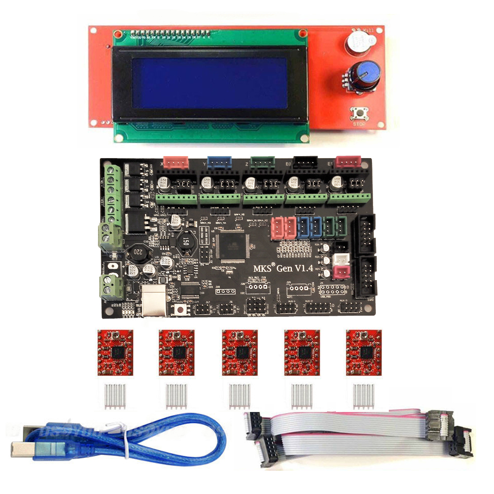 3D Printer Kit MKS Gen V1.4 Control Board MEGA2560 Motherboard + RAMPS 1.4 With USB Cable+ 2004 LCD+ 5PCS A4988 Stepper Motor soaringe e00316 3d printer kit mega2560 board ramp 1 4 extend shield 4 a4988 stepper drivers