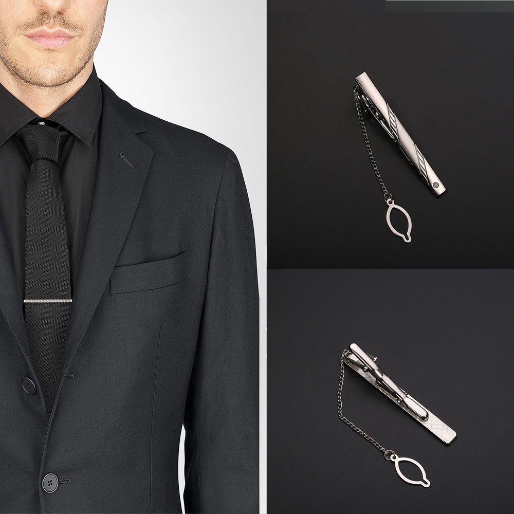 Multi Style Gentleman Silver Metal Simple Necktie Tie Clip Pin Bar Clasp Practical Plain Popular Gifts image