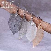 2017 Fashion Bohemian Long Earrings Unique Natural Real Leaf Big Earrings For Women Fine Jewelry Gift