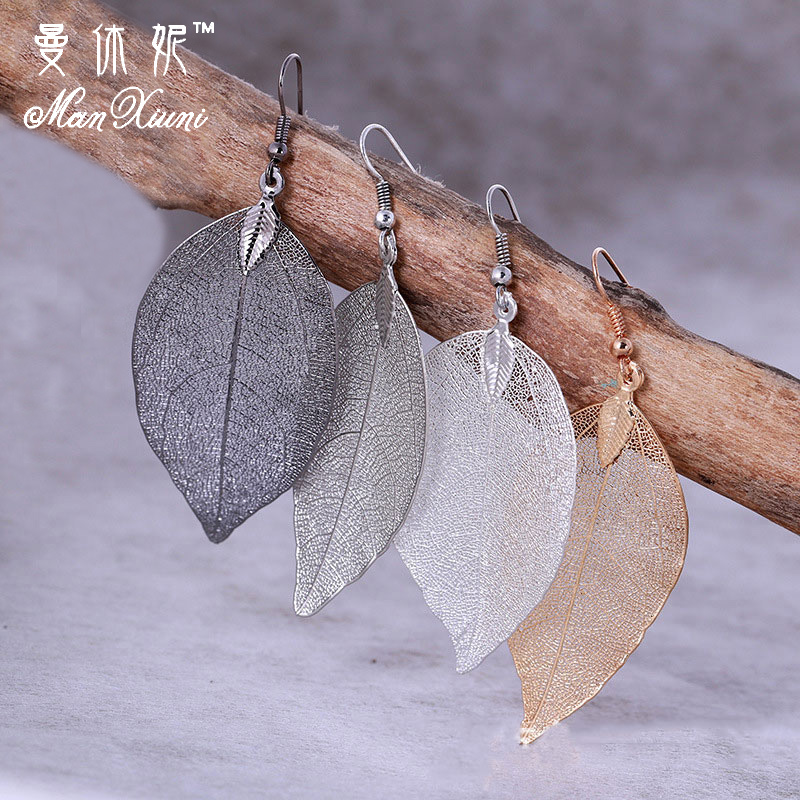 2018 Fashion Bohemian Long Earrings Unique Natural Real Leaf Big Earrings For Women Fine Jewelry Gift