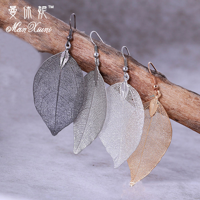 2018 Fashion Bohemian Long Earrings Unique Natural Real Leaf Big Earrings For Wo