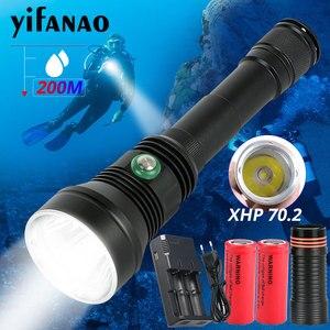 Image 1 - 7000Lums גבוהה כוח צלילה פנס צלילה XHP70.2 מקצועי LED מתחת למים לפיד 200m 26650 IPX8 עמיד למים צלילה מנורה