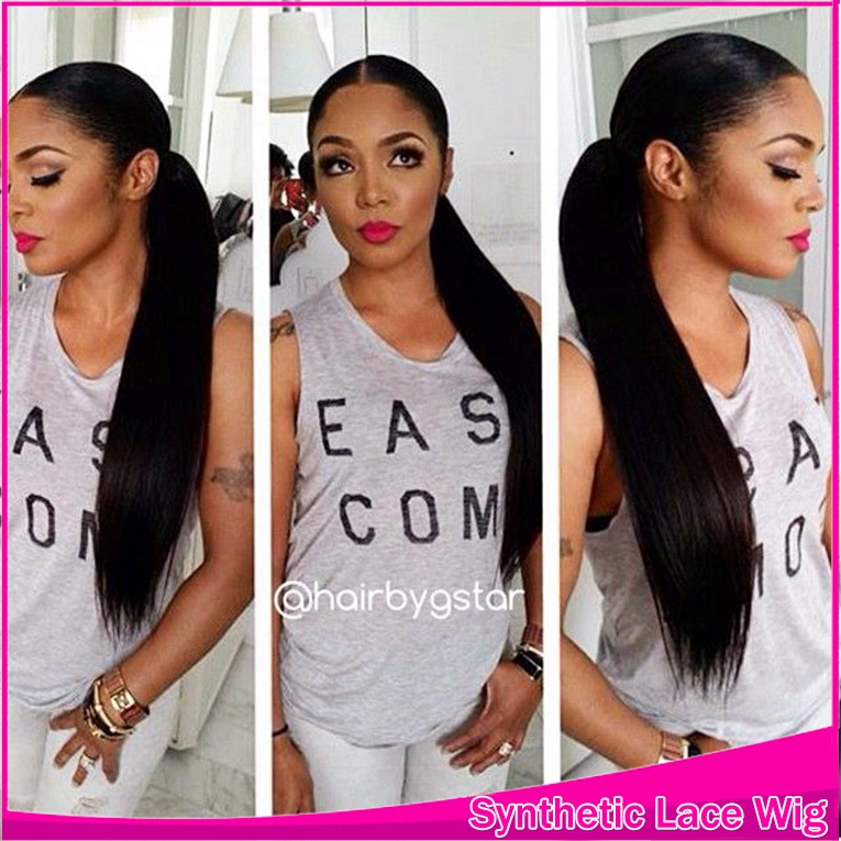 Middle Part With 3 4Inch For Black Women,Long Ponytail -6225
