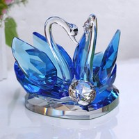 Upscale Crystal Swan Crafts Glass Paperweight Fengshui Ornaments Figurines Home Room Party Wedding Decor Gifts Home Decoration